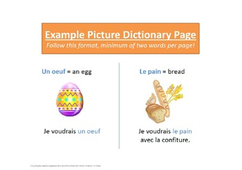 French 1 Picture Dictionary Vocab Activity Project
