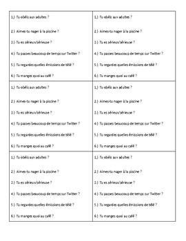 French 1 Question Word Interview Practice and IR verbs