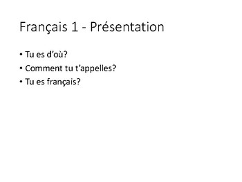 French 1 Set of questions for introduction/présentation- Ask Ask Switch cards