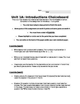 French 1 - Unit 1 Choiceboard