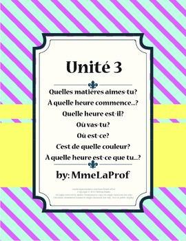 French 1, Unit 3, À Mon École (3rd of 5 units)