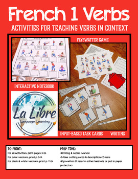 French 1 Present Tense Verb Games In Context Activities and Interactive Notebook