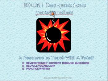 French 1 end of year review game - Des questions personnelles - Tout sur moi!