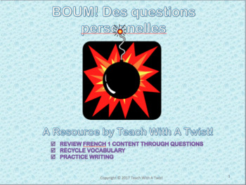 French 1 end /start of year  game - Des questions personnelles - Tout sur moi!