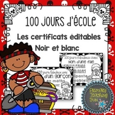 French 100's Day, Cent jours d'ecole, editable cerfificates with a pirate theme