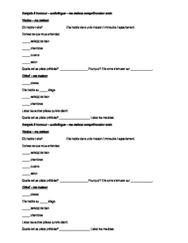 French 2 Maison Meuble Listening Comprehension Activity ba