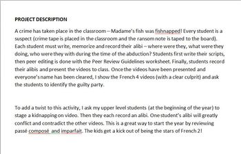 French 2 Past Tense Project: Fishnapping Alibis