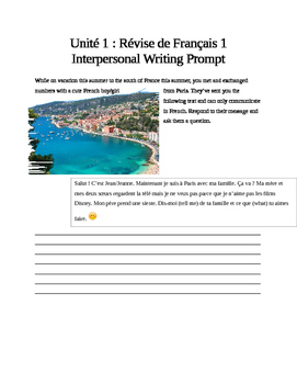 French 2 Unit 1 Interpersonal Writing Performance Based Assessment
