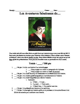 French 3/4 Beginning of the Year Project- Les Aventures Fa