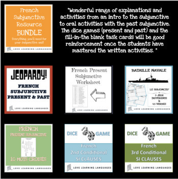 French 3 and 4 grammar, vocabulary, task cards, games and activities BUNDLE