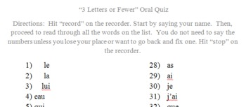 """French """"3 Letters or Fewer"""" Pronunciation Test Set"""