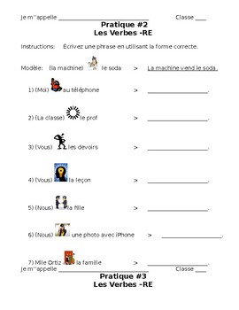 French- 3 -RE Verb Conjugation Practices