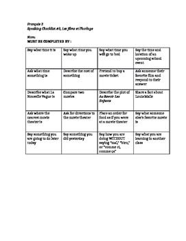 French 3 Speaking Checklist: Films and Time