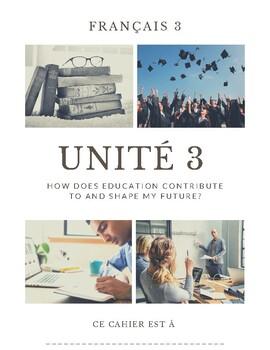 French 3 Unit 3 Workbook (follows Imaginez format, book no