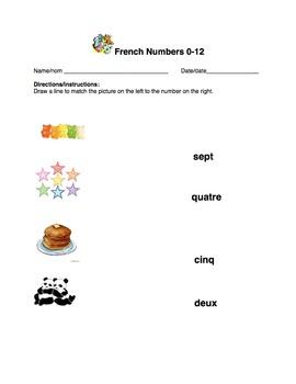 French 3-Worksheet Bundle: Numbers 0-12