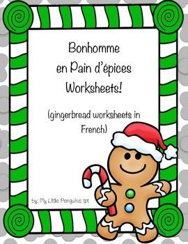 French-4 Bonhomme en Pain d'épices (Gingerbread man) Christmas worksheets