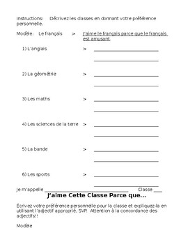 French- 4 Classroom and Class Practices