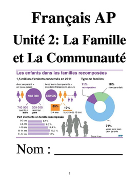 French 4 Unit 2: Families & Communities (no textbook necessary) 5 week unit