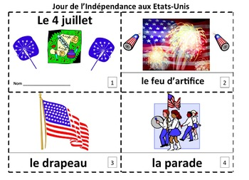 French 4th of July Le 4 Juillet 2 Emergent Booklets and Presentation