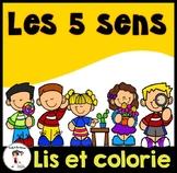 French 5 Senses Emergent Reader/ Lis et colorie les 5 sens