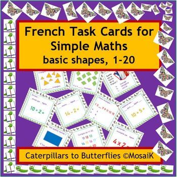 French 1 to 20 54 task cards  basic numeracy math