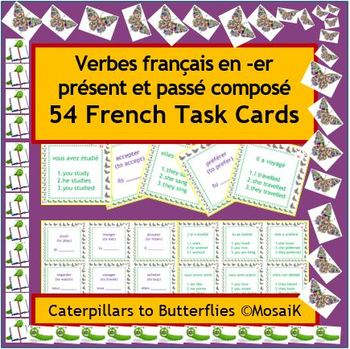 French Immersion or Core French: -er verbs, 54 task cards
