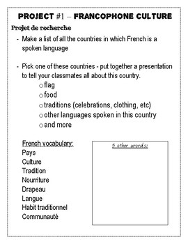 French 8 - Big project on Francophone Culture