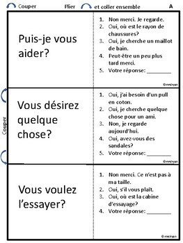French – Achetons des vêtements – Buying clothes - oral activities