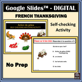 French Action de grâce/Thanksgiving-Self-Checking activity