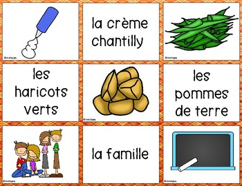 French - Action de grâce - Thanksgiving Matching Game - VERSION B