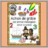 French – Action de grâce – Thanksgiving – word scramble