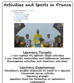 French Activities and Sports that use ER Verbs