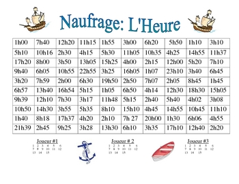 French Activity To Tell Time Naufrage By World Language