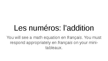 French - Numbers 1 through 69 Math Addition Game