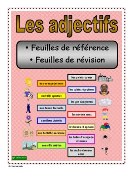 French Adjective Reference Sheets & Review Sheets