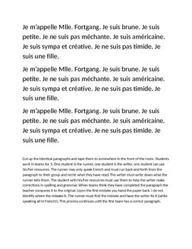 French Adjective relay paragraph - Bien dit CH 3, Bon Voyage CH 1