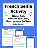 French Adjectives, Age, Name, Hair and Eyes Selfie Sketch
