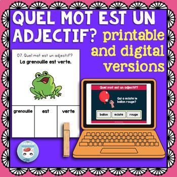 French Adjectives Clip Cards | ADJECTIFS QUALITATIFS