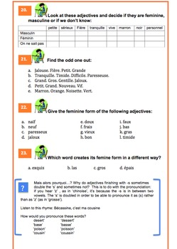French Adjectives Grammar Lesson 25 pages with audio (Adjectifs qualificatifs)