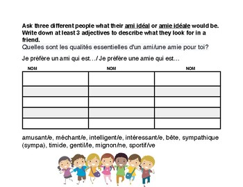 French Adjectives/ IDEAL FRIEND survey interactive!
