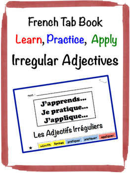 French Adjectives (Irregular) Tab Book