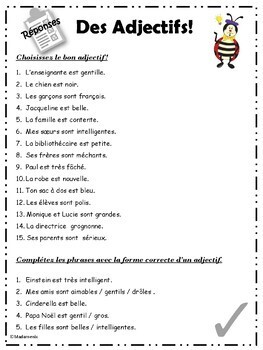 FRENCH: French Adjectives, Meanings, Agreement and Placement
