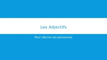French Adjectives PowerPoint
