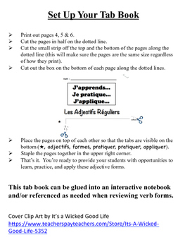 French Adjectives (Regular) Tab Book