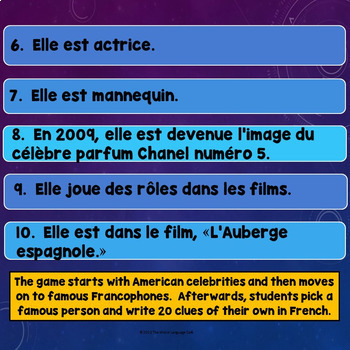 Famous Francophones, Famous People Review Game and Research Project