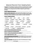 French Advanced Speaking Rubric