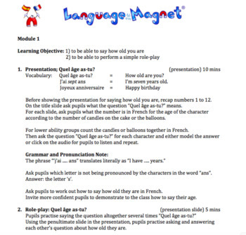 French Age Complete Lesson Plan and Resources