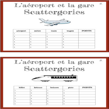 French Airport and Train Station Scattergories Game - L'Aéroport et la Gare