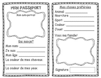 French All About Me Passport - Back to School Activity