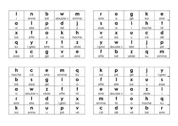French Alphabet Bingo